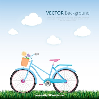 Lovely background with classic bike