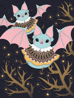 Lovely bat flying through starry night