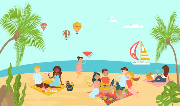 Lovely beach ocean place, lover couple relax paradise tropical seaside and family rest picnic   illustration.