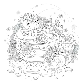 Lovely bear adult coloring page