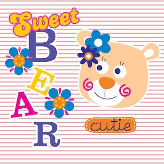 Lovely bear funny cartoon
