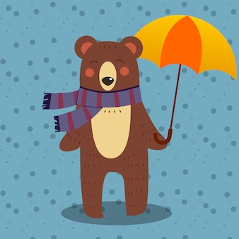 A lovely bear holding an umbrella in flat style