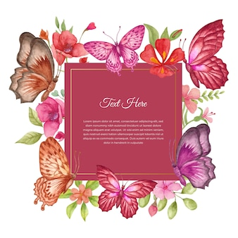 Lovely beautiful watercolor spring flower frame or greeting card