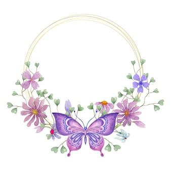 素敵な美しい水彩画の春の花のフレーム Premiumベクター