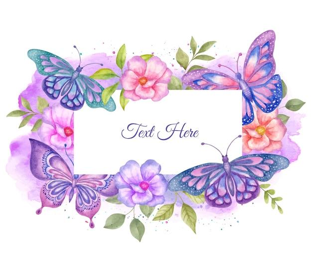 素敵な美しい水彩画の春の花のフレーム