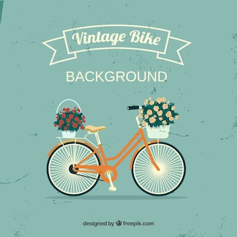 Lovely bike background with ribbon