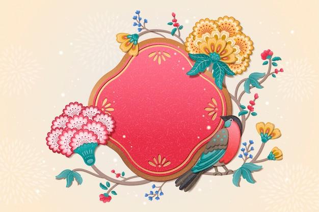 粘土風の素敵な鳥と花の絵画新年のデザイン