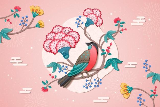 클레이 스타일의 사랑스러운 새와 꽃 그림 새해 디자인