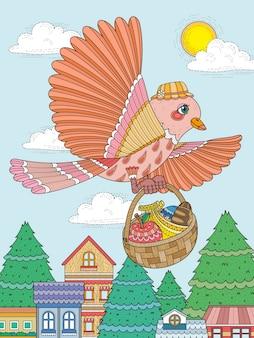 素敵な鳥が食べ物の大人のぬりえをもたらす