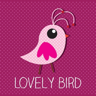 Lovely bird with pink background vector illustration