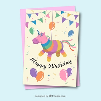 Lovely birthday card template with flat deisng