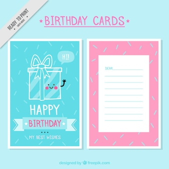 Lovely birthday cards in pastel tones
