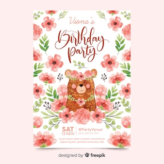 Lovely birthday invitation with flowers