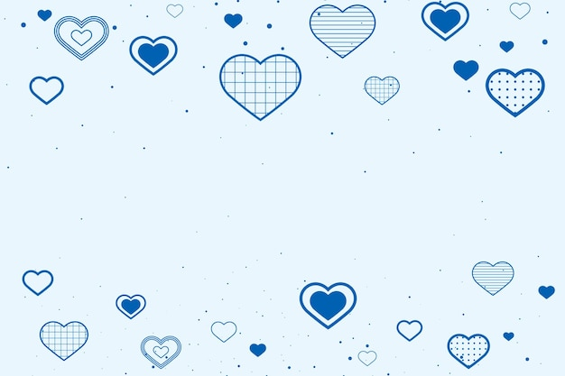 Lovely blue background with borders decorated with hearts