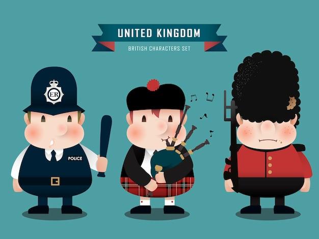 フラットスタイルで設定された素敵な英国のキャラクターコレクション