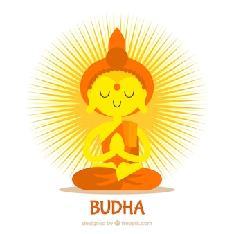 Lovely budha with flat design