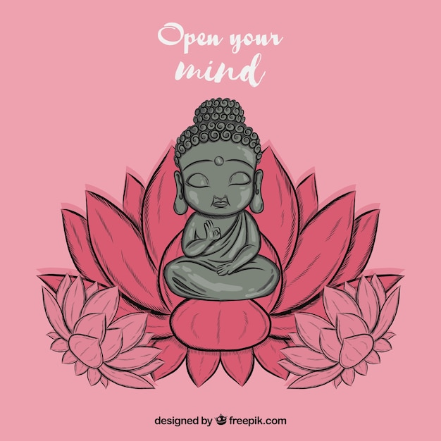 Free Lovely budha with hand drawn style SVG DXF EPS PNG