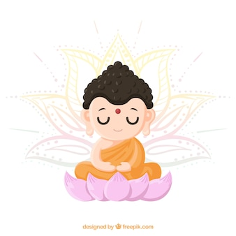 Lovely budha with hand drawn style