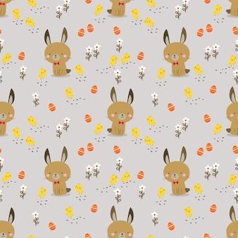 사랑스러운 토끼와 병아리 원활한 패턴
