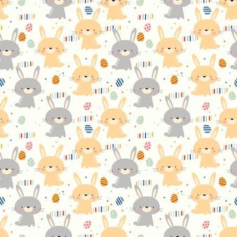 사랑스러운 토끼와 부활절 달걀 완벽 한 패턴