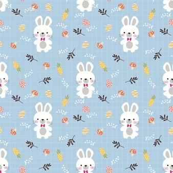 素敵なウサギとイースターの卵のシームレスなパターン