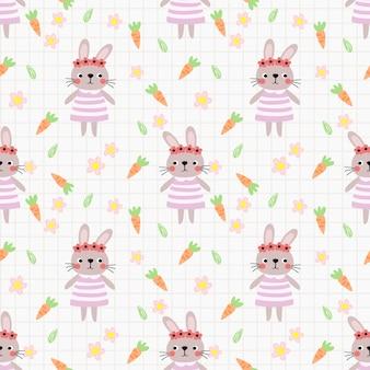사랑스러운 토끼와 꽃 원활한 패턴