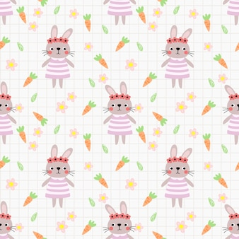 Lovely bunny and flower seamless pattern