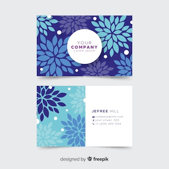 Lovely business card template with floral style