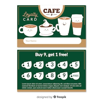 Lovely cafe loyalty card template