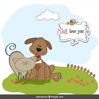 동물들과 함께 사랑스러운 카드