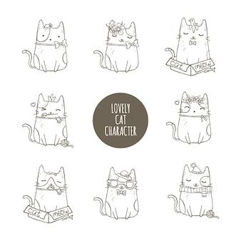 Lovely cat character set