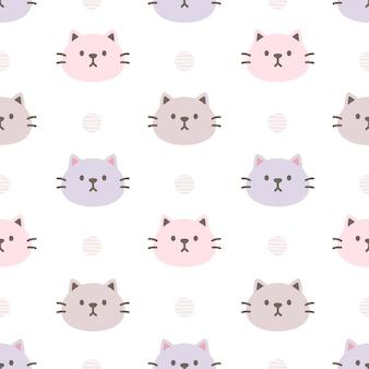 Lovely cat seamless pattern background