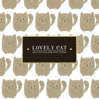 ラブリー猫の水彩パターン