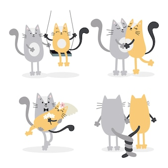 Милые влюбленные кошки женятся. день святого валентина, декор свадебных торжеств, приглашения, открытки. векторная иллюстрация