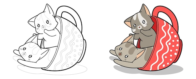 Lovely cats inside a cup cartoon coloring page