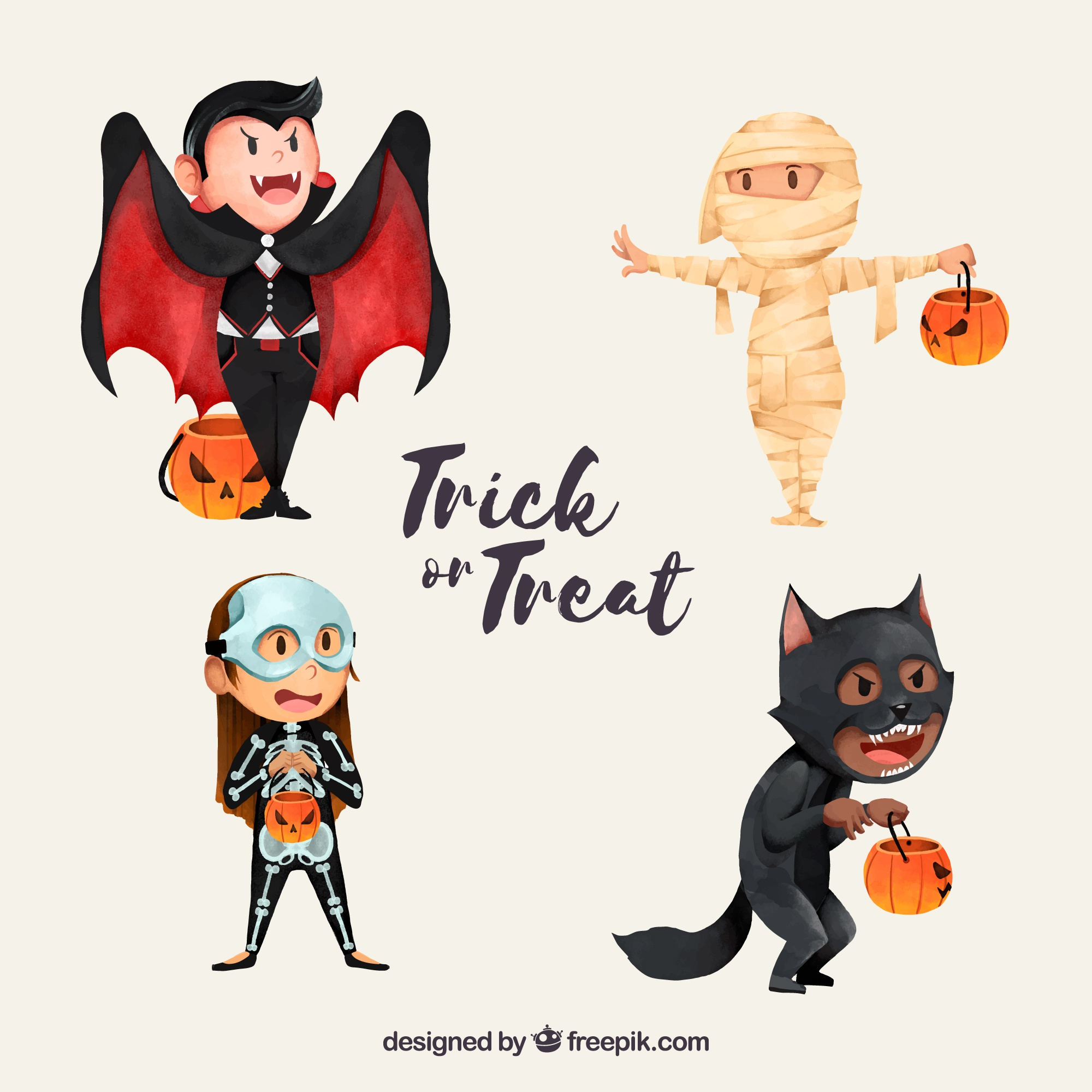 Lovely characters disguised as halloween