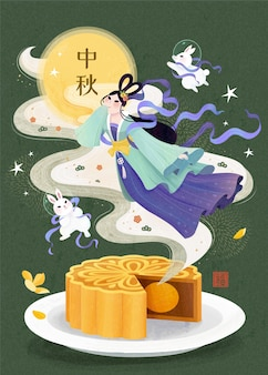 Lovely chenge and jade rabbit flying out from mooncake on green background mid autumn festival
