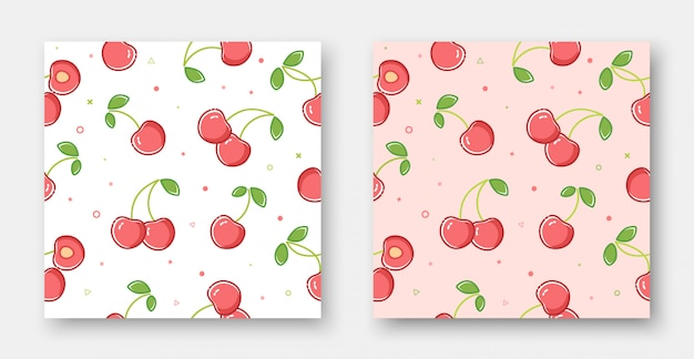 Lovely cherry seamless pattern