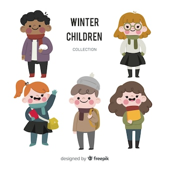 Lovely children collection with winter clothes