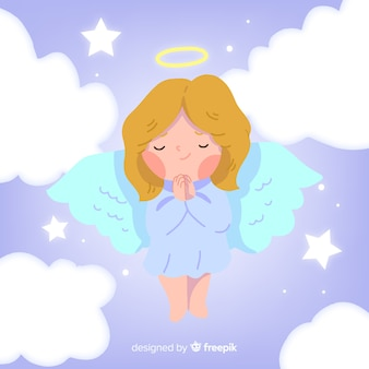 Lovely christmas angel background in flat design