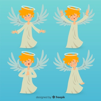 フラットスタイルの素敵なクリスマスの天使のコレクション