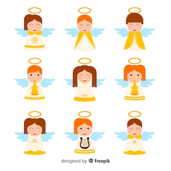 Lovely christmas angel collection with flat design