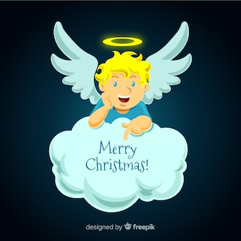 Lovely christmas angel with flat design