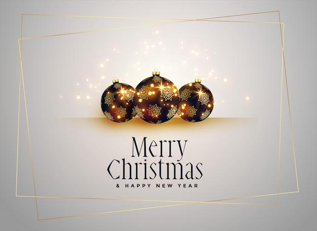 Милые новогодние шары с фоном золотых блесток