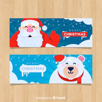 Lovely christmas banners in flat design