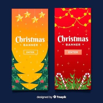 Lovely christmas banners with flat design