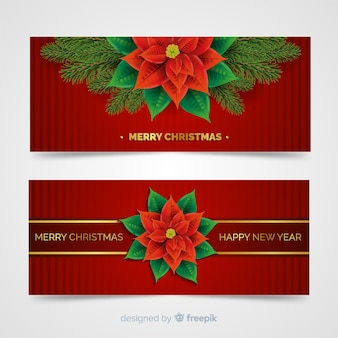 Lovely christmas banners with realistic design