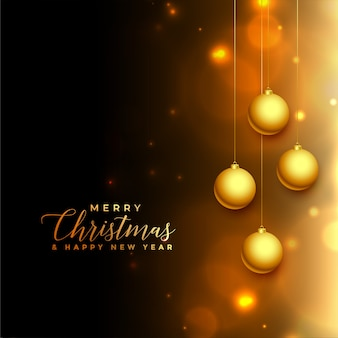 Lovely christmas black and golden glowing background
