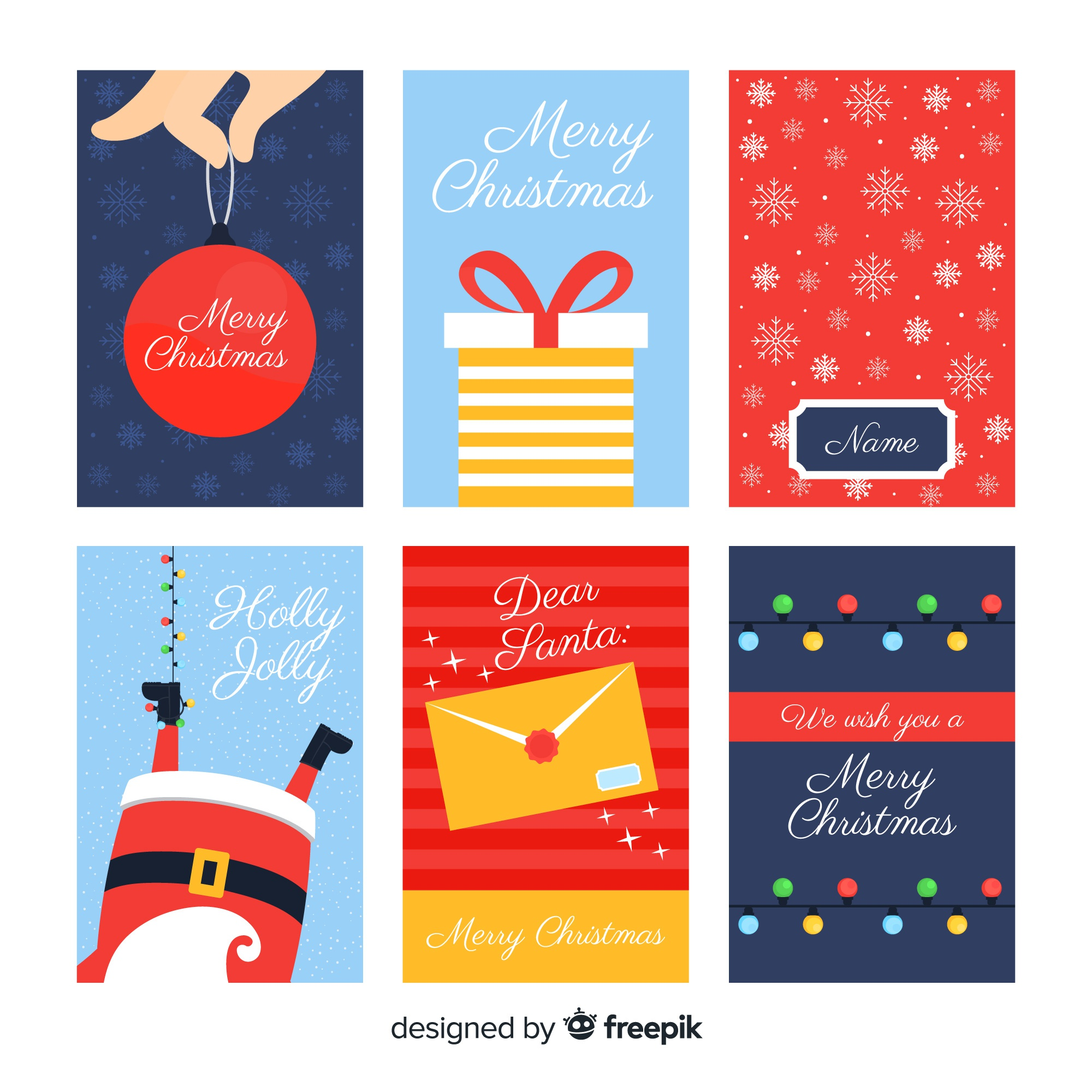 Lovely christmas card collection with flat design