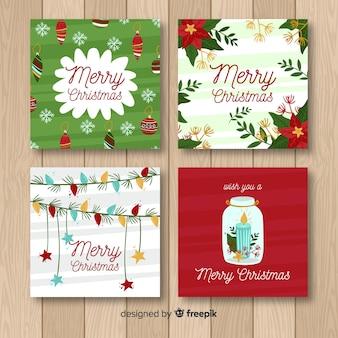 Bella collezione di cartoline natalizie con design piatto